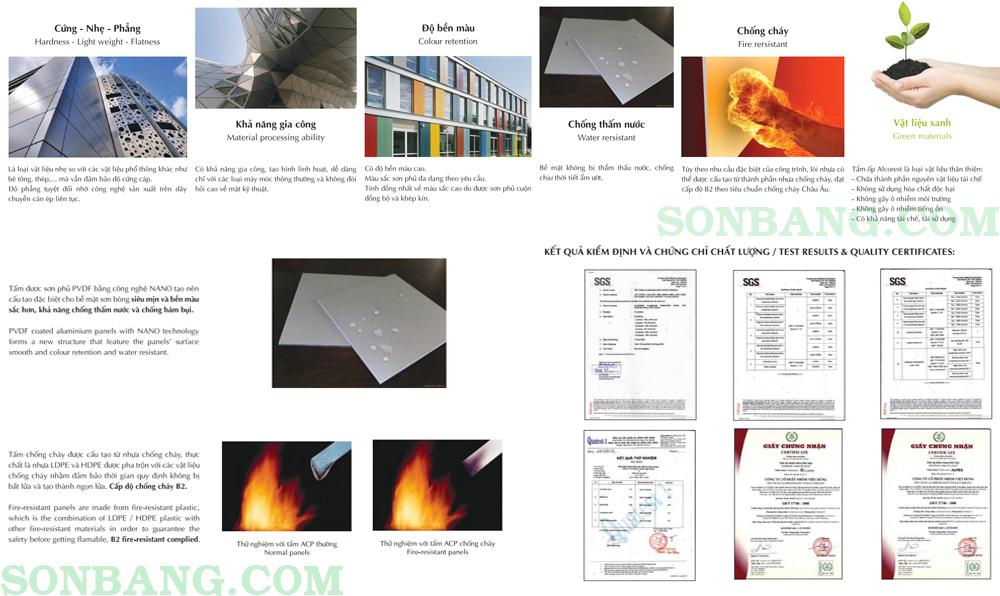 catalog mã màu tấm alu chống cháy alcorest