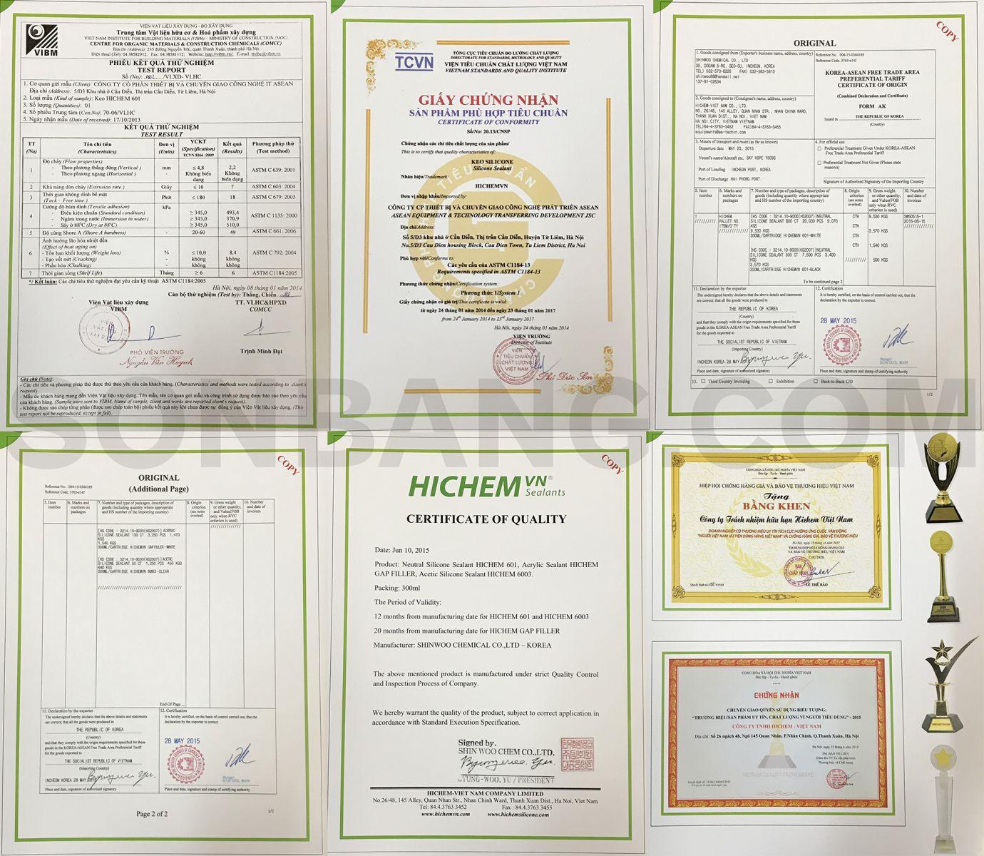 chứng nhận thử nghiệm chất lượng keo hichem trung tính