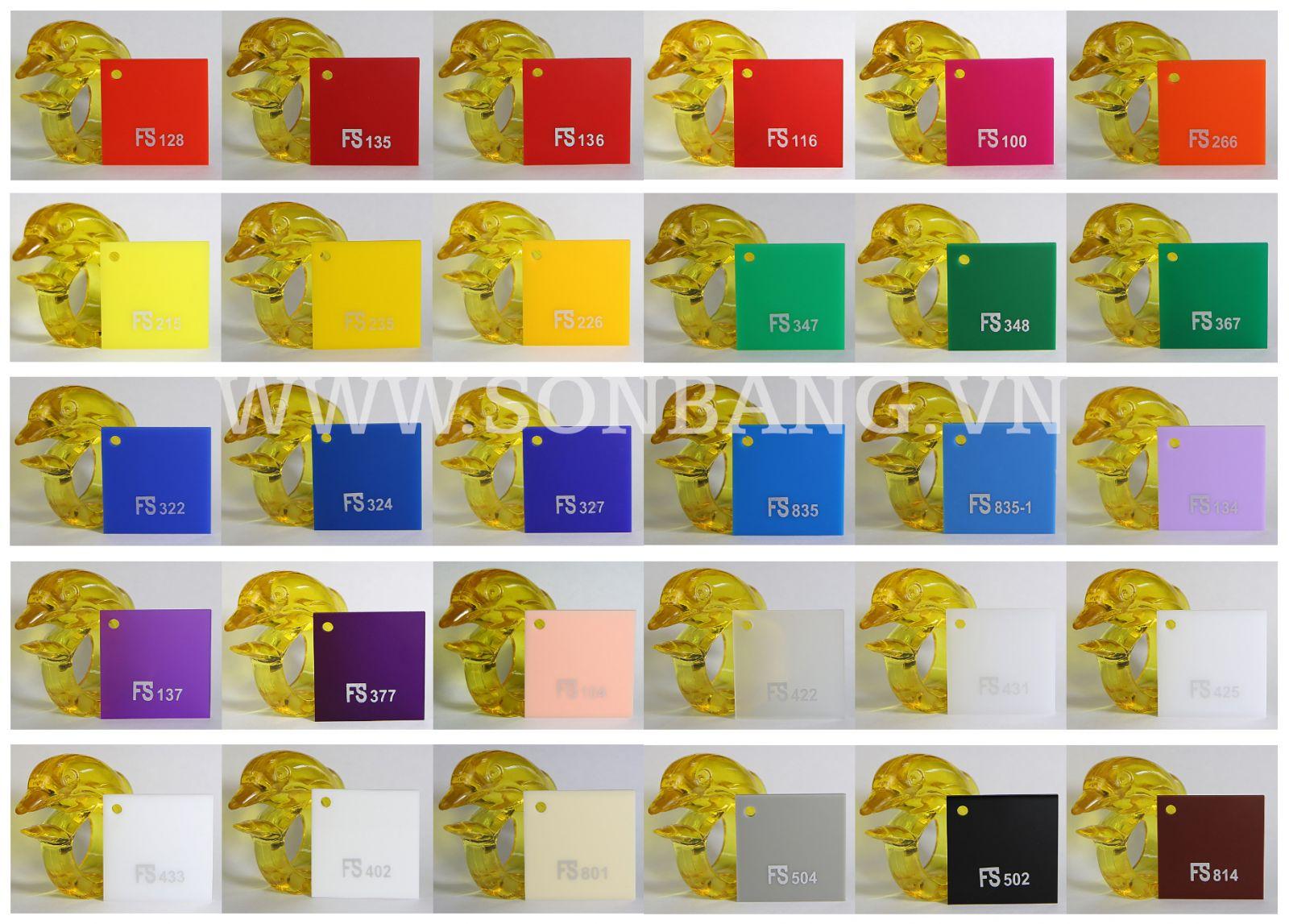 bảng mã màu catalog tấm nhựa mica