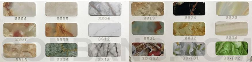 bảng mã màu tấm pima cẩm thạch