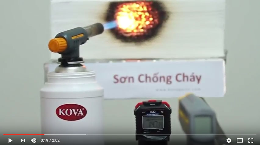 [Video] Thử nghiệm sơn chống cháy Kova với lửa mạnh